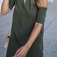 Casual Army Green High Neck Off-Shoulder Short Sleeve Mini Dress