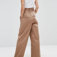 ASOS Wide Leg Pants with Paperbag Waist at asos.com