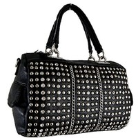 Glamorous Studded and Rhinestone Satchel Bag Fashion Purse Black