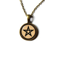 Wicca necklace Pagan jewelry Occult Pentacle pendant n343