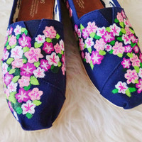 Hand Painted Floral Print TOMS Shoes Included