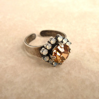 Swarovski crystal adjustable ring in topaz and opal, better than sabika, GREAT PRICE