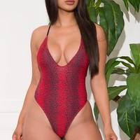 Wickborough Paradise One Piece Swimsuit Animal Print Red