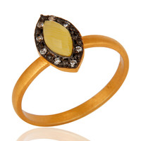 18K Gold Plating Sterling Silver Moonstone Marquise Gemstone Ring With CZ