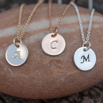 Gold Initial Disc Necklace - Personalized Jewelry . Initial Pendant . 9mm Circle . New Baby Mom Gift