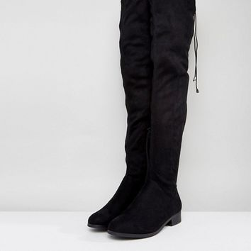 ASOS KEEP UP Wide Fit Flat Over The Knee Boots at asos.com