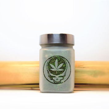 Steal Your Face with Pot Leaf Etched Glass Stash Jar- Free UPGRADE to Priority Mail within the US