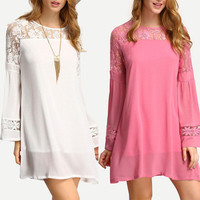Fashion Women Lace Long Sleeve Round Necked One Piece Dress _ 7516