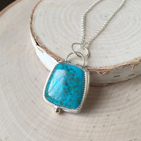 Bright Blue Turquoise Gemstone Pendant in .925 Sterling Silver with Serrated Bezel, 14k Gold Accent, Rolo Chain, Anniversary Gift Birthstone