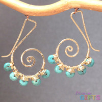"Swirl shapes with sleeping beauty turquoise, 1-1/4"" Earring Gold Or Silver"