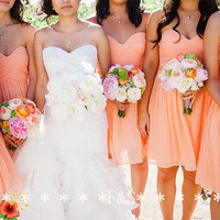 Coral Bridesmaid Dress, A-line Sweetheart Inexpensive Bridesmaid Dress, Short Coral Party Dress, Sexy Coral Beach Wedding Bridesmaid Dress