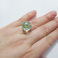 Resin flower ring/ botanical ring /resin ring, nature specimen 3 colors available --gold plated copper ring