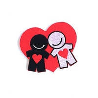 Couple Love Iron on Patch Size 7.1 x 6 cm