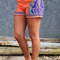 Paisley Printed Shorties
