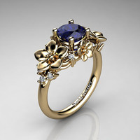 Nature Inspired 14K Yellow Gold 1.0 Ct Blue Sapphire Diamond Leaf Vine Unique Floral Engagement Ring R1026-14KYGDBS