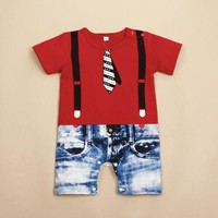 US Stock Summer Newborn Baby Boy Romper Jumpsuit Outfits Tie Cute Clothes Shorts