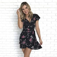 Cherish Moments Floral Wrap Dress in Black