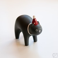 T-lab Handcarved Wooden Party Hat Cat