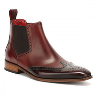 Jeffery West Mens Toledo Burgundy Chelsea Shoes