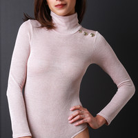 Ribbed Knit Button Shoulder Bodysuit