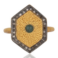 Natural Emerald Gemstone Sterling Silver Natural Diamond Wedding Ring Jewelry