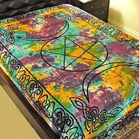Triple Moon Pentacle Tapestry - Tie Dye
