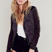 Free People Womens Jacquard Vegan Moto Jacket