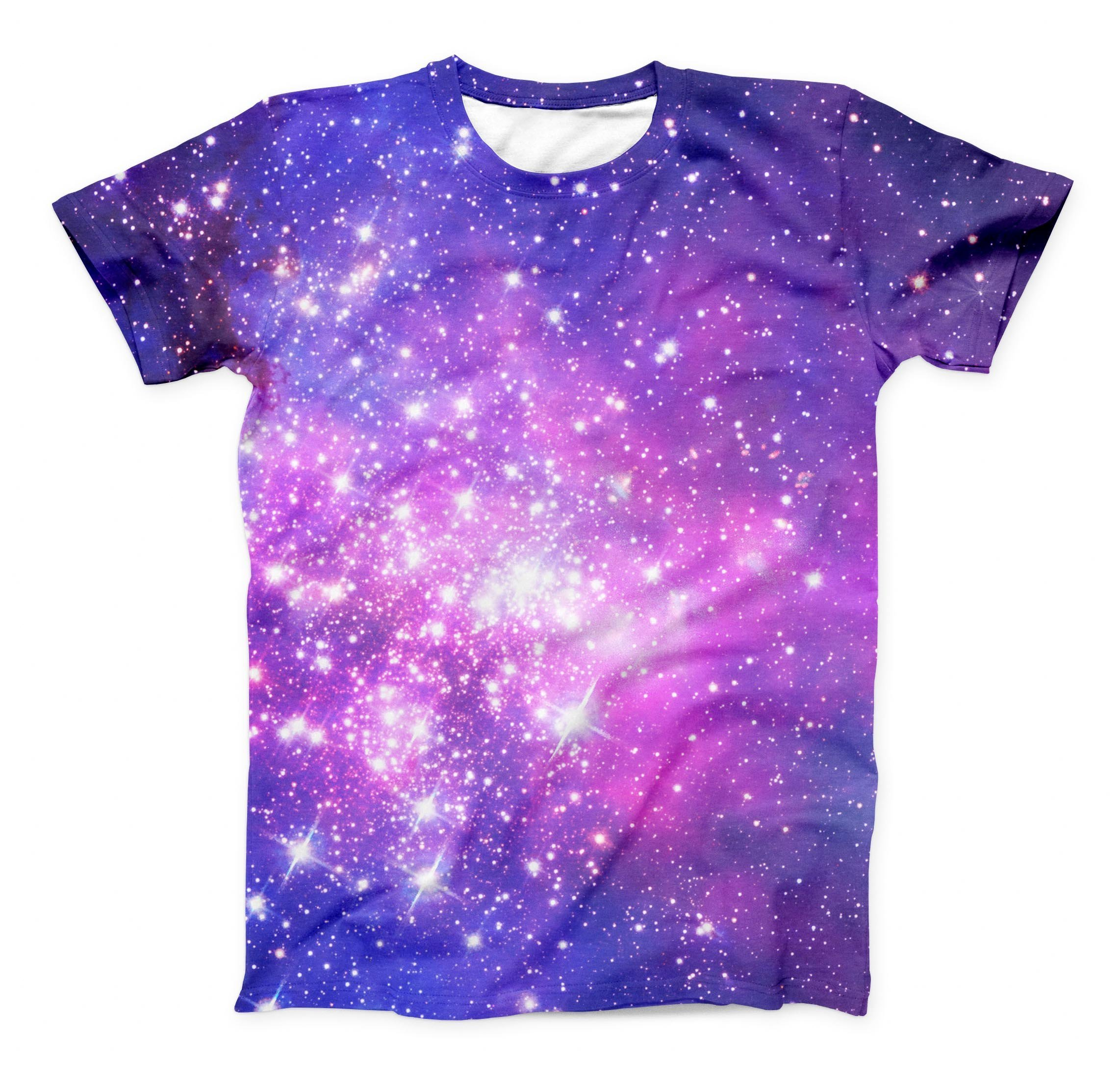 Image of The Purple & Pink Space ink-Fuzed Unisex All Over Full-Printed Fitted Tee Shirt