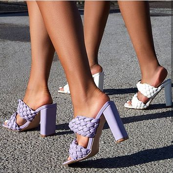 2020 high heels featured braided sandals and slippers, hand-woven belt sandals purple