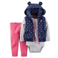 Carter's Polka-Dot Microfleece Vest Set - Baby Girl, Size: