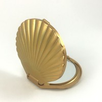 Compact Mirror - Mermaid Vanity Seashell Compact Mirror in Gold