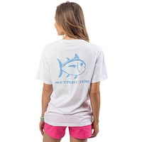 Gingham Skipjack Pocket Tee Shirt in Classic White by Southern Tide