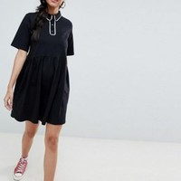 ASOS DESIGN smock polo dress with contrast tipping at asos.com
