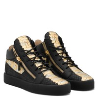 Giuseppe Zanotti Gz Kriss Metallic Black And Gold Python-embossed Sneaker With Side Zips - Best Deal Online