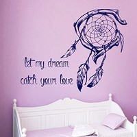 Wall Decals Vinyl Decal Sticker Wording Family Quote Let My Dream Catch Your Love Bedroom Decor Living Room Dream Catcher Feathers Beauty Salon Home Interior Design Kg916