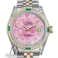 Ladies Rolex SS & Gold 31mm Datejust Pink Flower Color Diamond Emerald Dial