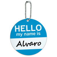 Alvaro Hello My Name Is Round ID Card Luggage Tag