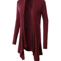 LE3NO Womens Flowy Draped Open Front Long Sleeve Cardigan (CLEARANCE)