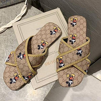 GG Women's Double G Letter Fashion All-match Cross Slippers Shoes
