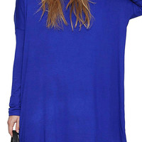Blue Casual Long Sleeves Dress