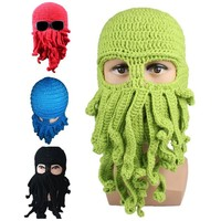 Octopus Pattern Beanies Winter Warm Knitted Wool  Face Mask Knit Hat Squid Cap