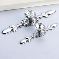 Sliver Glass Diamond Crystal Shoebox Cabinet Closet Knobs Home Door Drawer Wardrobe Pull Handles With Screws