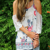 Free Spirit Navy Floral Print Open Shoulder Peasant Dress