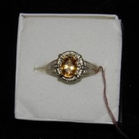 1.13ct Madeira Citrine Sterling Silver ring size 6.5 Vintage Look New November