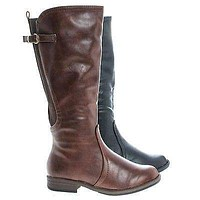 Montesori04k By Bamboo, Young Girl's Fashion Equestrian Riding Boots w Elastic Shaft