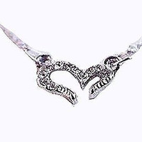 Basket Hill , Delicate Silver Tone Open Heart and Crystal Necklace