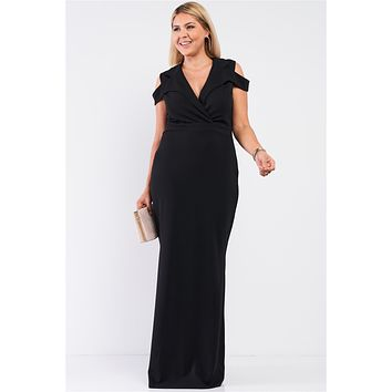 Black Plus Size Sleeveless Collared Plunging V-neck Maxi Dress