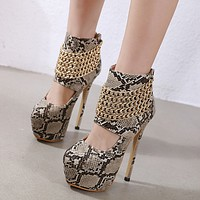 Sexy Brown Serpentine Women Round Toe Stripper Heels Fashion Chain Rivet Platform Female Zip Nightclub Riding Booties
