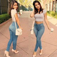 Women's Fashion Spring Summer Sexy Denim Stretchy Skinny Empire Waist Slim Fit Pencil Jeans Pants Trouser Leggings = 1929889988