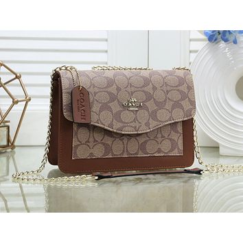 COACH fashion ladies casual patchwork color printing one-shoulder shopping bag #3